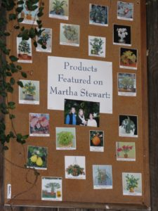 This board, proudly displayed at the main entrance, displays all of the plants that Byron has shown on my television show.