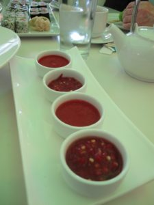 Bowls of spicy condiments