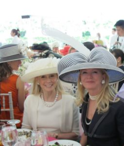 Karen LeFrak - who raises the prize winning standard poodles - and Blaine Trump looked stunning in their wide-brimmed hats.