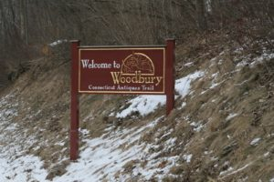The sign leading into Woodbury, Connecticut