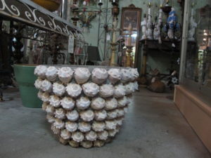 A closeup of the shell covered urn - it is quite extraordinary!