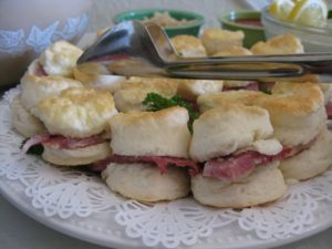 Southern ham on flaky whipping cream biscuits