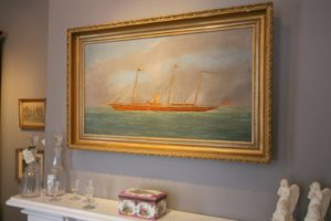 This ship painting is by Thomas Willis, an idiosyncratic 19th century artist.