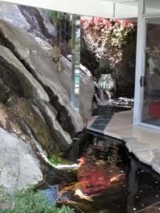 A koi pond on the edge of the house