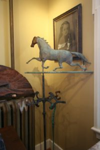 A copper horse weather vane - these were often seen on top of old New England barn cupolas.