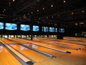 This is a great place to bowl - over the lanes are eight huge high-definition projection screens.