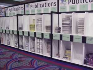 Very organized cubbies of techie publications