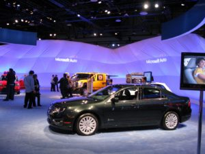 The Microsoft Sync system http://www.microsoft.com/auto/ma.mspx for cars was one of the great buzzes at this year's show.