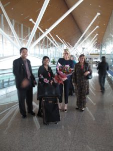 35 hours later - Our welcoming group from the Malaysian Ministry of Tourism in Kuala Lumpur.  Malaysian Airlines' excellent staff made the flight so enjoyable.  On the right is Datin Normasila Musa, who briefed us on protocol and travel program.