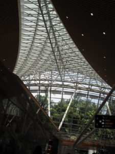 The gorgeous Kuala Lumpur airport - designed by renowned Japanese architect Kisho Kurokawa - has  enclosed sections of rain forest.  This airport is huge, unique, and easily navigated.