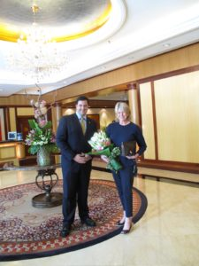 At the impressive Ritz Carlton Hotel, I was welcomed by the General Manager, Steve Cokkinias, who presented a gorgeous bouquet.  We had a fabulous stay!