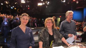 The Emeril Show production team - Charissa Melnik - culinary producer, Karen Katz - executive producer, and Scott Preston - director