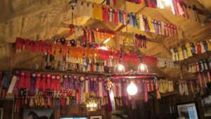 This is the interior of Harry's carriage house and his amazing collection of show ribbons.