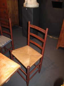 Mario Pollo Americana had four beautiful shaker chairs.  His shop is located at 143 Baker Road Bearsville, New York.