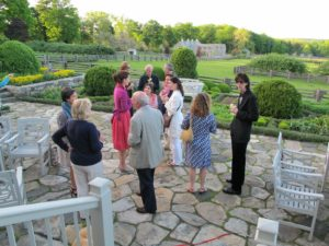 The evening was lovely and guests enjoyed the beautiful spring weather outside on the terrace.