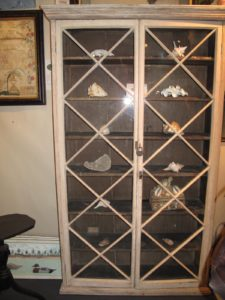 I loved this gorgeous cupboard with old glass from Hilary and Paulette Nolan of Falmouth, Massachusetts.