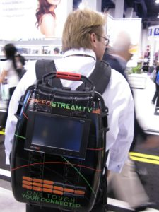 Doug Watkins from SpeedStream.TV http://www.speedstream.tv/ modeling a backpack that acts as a mobile broadcasting station
