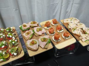 There was a selection of sandwiches on a variety of artisanal breads - smoked turkey, grilled chicken, smoked salmon, grilled vegetables and Woolwich Dairy goat cheese.