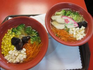 We ate delicious noodle soup at the Taipei airport - $6 a bowl.