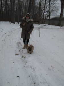 I was wearing my Icelandic hand knit hat, my Uggs, and my Hermes jacket, which is very, very warm.  Genghis needs nothing other than his own thick fur coat.  At ten weeks of age, this puppy is fabulous!