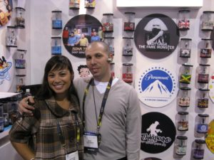 Candice and Mike posing in front of their designer Bluetooth headsets from Earloomz http://www.earloomz.com/