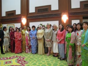 A formal portrait of us all at the tea given by Her Majesty in my honor.  The Queen is to my right - A mother of four, she is vivacious and caring and very beautiful.