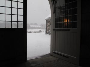One of the huge stable doors open to the elements