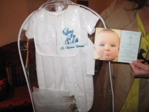 Liesl found this adorable christening outfit on line and had printed up charming invitations.