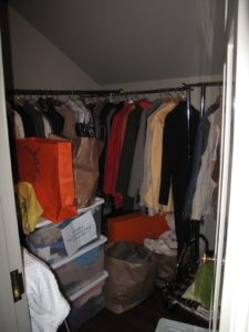 There were two big closets that needed attention - this is the coat closet.