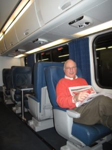Here is Steve Gerard on the Acela train from Penn Station, New York, to Baltimore.