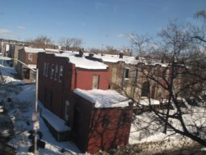 Rooftops were still laden with snow.