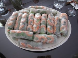 These spring rolls - goi cuon - were very good and served with homemade peanut sauce.  The wrappers were homemade - the filling traditional, halved shrimp, coriander, rice noodles, pork, and Thai basil.
