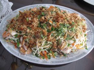 The salad was my favorite of all the dishes - goi is composed of very finely julienned vegetables - carrots, daikon, kohlrabi, shrimp, cilantro, fried shallots, chopped peanuts, lime, and fish sauce - nuoc mam