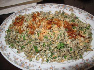 Steve Gerard's favorite dish - com hen - sauteed clams, onion, ginger, pepper, rau ram, peanuts, and fried shallots