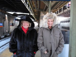 After a delicious and friendly visit, Jane and I huddled on the train platform in Baltimore for the trip back to New York City.