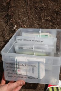 Those files are stored in a plastic bin, also neatly labeled.