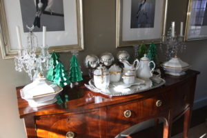 These pleated green paper trees look great with my white tea and coffee set in the bird room.