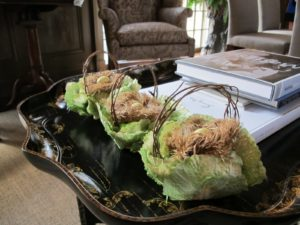Lettuce baskets - artificial, of course - filled with more blown eggs