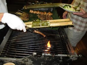 Grilling satay, prawns, and that great glutenous rice