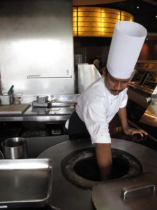 After our cooking lesson, it was time to eat.  This chef prepared our naan, baked to perfection in the tandoor oven.