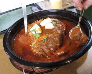 The fish head curry was simply delicious - the fish eyes are considered a special delicacy.
