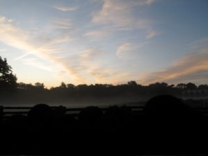 Looking away from the stables, the ground was mysteriously dark, while the sky turned gorgeous pastels.