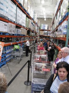 The line wrapped up and down the aisles.