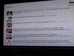 Of course, there was live twitter feed of the event in the green room and in the main hall.