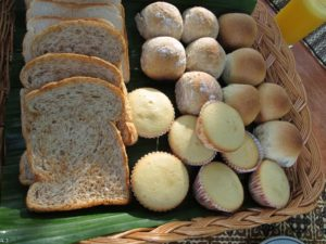 Freshly baked breads, rolls, and muffins