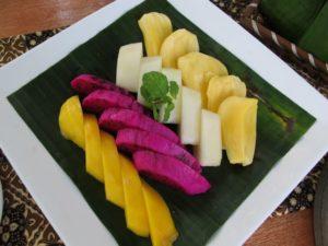 Deliciously ripe mango, dragon fruit, honey dew, and jack fruit