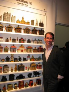 Kevin posing at the Gemeni booth - www.geminiantiques.com - Americana, American Folk Art, and Antique Toys and Banks