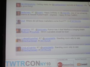 There was a live twitter feed on the big screen.  No, I did not bring treats!  That rumor was wrong.