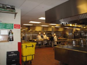 A quick exit through the kitchen - the chefs waved goodbye as I got into the elevator.