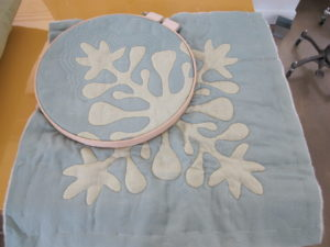 We displayed some Hawaiian Quilt projects that are in the book.  This is a how-to for echo quilting.